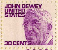 The 30 cent stamp, featuring John Dewey.